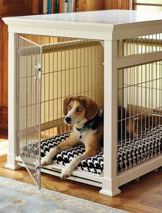 Provide your furry friend with a comfortable place to sleep without sacrificing your home's décor with the Luxury White Pet Residence Dog Crate that expertly crafted from solid hardwood and boasting rolling shades for added privacy.
