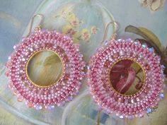 Beadwork Hoop Earrings  Soft Pink GODDESS EARRINGS by WorkofHeart, $38.00