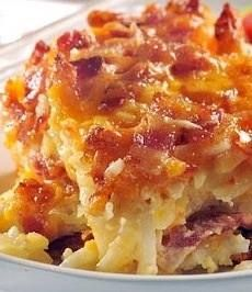 Hashbrown Casserole: Cracker Barrel's Recipe    1 bag (32oz) shredded hash browns  1/4 cup melted butter, salt, pepper  1 can cheddar cheese soup & 1 cream of chicken soup, 1 pint of sour cream  1 onion chopped, 1 bag pepper jack   Preheat oven to 350. Mix all ingredients together. Place in a buttered 9x13 casserole dish. Bake 45 Minutes.
