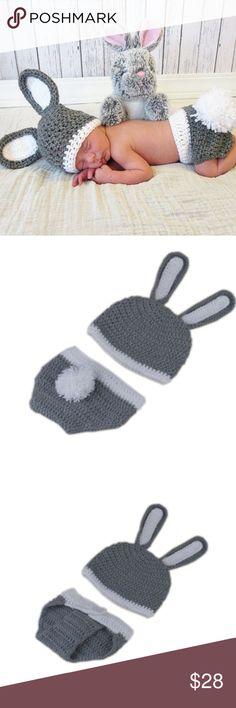 Lovely crochet baby grey bunny set newborn set Adorable grey crochet baby bunny prop for babies first Easter photo set Costumes Seasonal