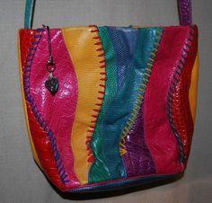 Vintage Sharif  Multi Color Reptile Leather Handbag Purse Made in USA #Sharif #ShoulderBag