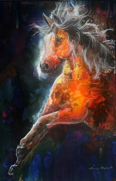 Wildfire FIRE HORSE Painting by Sherry Shipley -