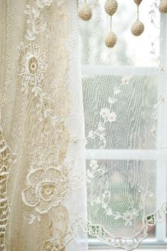 ♥~ old lace on windows ~♥                                                         #lace. #shabbychic