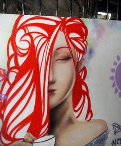 street art in Brasil ... love the red hair
