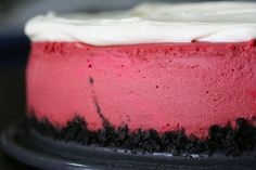 frosted cheesecake Pink Velvet Cheesecake