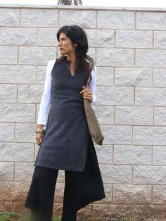 Winter Fleece ASIAN TUNIC-Women's cozy sweater-Empire cut tunic with side slits-Womens clothing. $125.00, via Etsy.