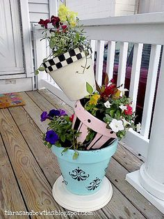Colorful Pots Tipsy Flower Tower