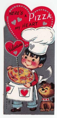 Vintage Greeting Card Valentine's Day Children Boy PIZZA Puppy Dog UNUSED j135