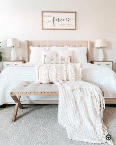 Home Decor Habitacion .Home Decor Habitacion Room Ideas Bedroom, Bedroom Inspo, Home Decor Bedroom, Modern Bedroom, Neutral Bedrooms, Cozy Master Bedroom Ideas, Bedroom Inspiration Cozy, White Bedroom Decor, Bedroom Signs