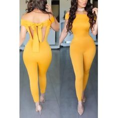 USD9.99Sexy Halter V Neck Short Sleeves Backless Yellow Twilled One-piece Jumpsuits