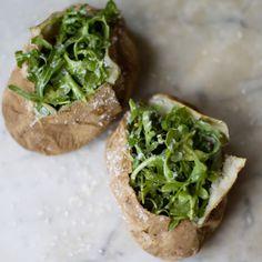 baked potato/arugula salad