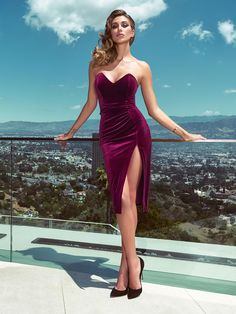 Guess Marciano velvet dress | The perfect way to show off a shapely figure? This slim-fit, velvet-look dress with slender straps, close-fitting bodice and split detail at the front.