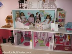 Homemade Dollhouse for American Girl dolls - I like the reading area and the laundry room American Girl House, American Girl Crafts, American Girls, Ag Dolls, Girl Dolls, Ag Doll House, Doll Houses, Homemade Dollhouse, Girls Dollhouse