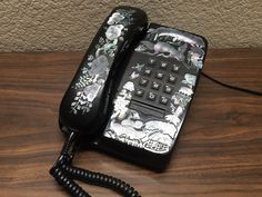 1980s Vintage Push Button TELEPHONE Mother of Pearl Inlay