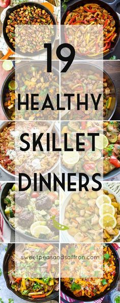 19 Healthy Skillet Dinners, a round-up of one-pan, stove-top dinner recipes that are good for you! The post 19 Healthy Skillet Dinners, a round-up of one-pan, stove-top dinner recipes that& appeared first on Diet. Iron Skillet Recipes, Cast Iron Recipes, Skillet Dinners, Easy Skillet Dinner, Healthy Dinner Recipes, Healthy Snacks, Healthy 30 Minute Meals, Lunch Recipes, Paleo Dinner