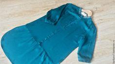 Купить Платье-рубашка - темно-бирюзовый, однотонный, платье-рубашка, платье для города, платье летнее