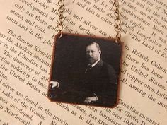 Bram Stoker necklace mixed media jewelry literature literary by SarahWoodJewelry on Etsy