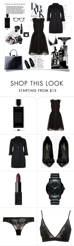 """Dark Romance"" by nathalie-puex ❤ liked on Polyvore featuring Agonist, Whistles, Dolce&Gabbana, Yves Saint Laurent, NARS Cosmetics, Movado, Chantelle, Charlotte Russe and Ray-Ban"