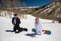 J. LaPlante Photo | Eagle County Wedding Photographer | Beaver Creek Mountain Wedding | Bride And Groom Snowboards