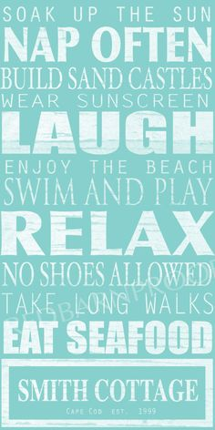BEACH Sign, Cottage Rules Canvas, Personalized Canvas word art 18x24,  Family Rules, Lakehouse.