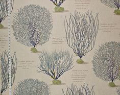 love this fabric - Blue coral sea fan fabric documentary print from Brick House Fabric: Novelty Fabric