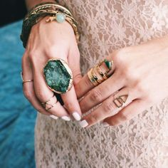 Jewels: gemstone, green, gold, boho, gemstone ring, statement ring, knuckle ring, ring, gold ring, boho jewelry, ring, cristal - Wheretoget