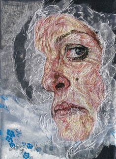 artwork by artist Emily Tull including portraits, nature, commissions, paintings and hand stitched. Embroidery Art, Cross Stitch Embroidery, Machine Embroidery, Thread Painting, Thread Art, A Level Textiles, Reflection Art, Gcse Art, Textile Artists