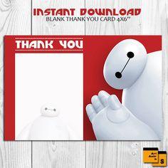 Big Hero thank you card, big hero blank thank you card, AUTOMATIC DOWNLOAD, 4x6 thank you card, big hero 6, baymax thank you card, S-20 by ArtAmoris on Etsy