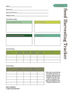 Print This Free Garden Planner: Printable Seed Harvest Tracker