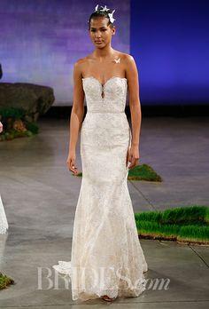 A strapless @inesdisanto wedding dress with a keyhole cutout | Brides.com