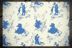 Gay and Lesbian Christmas Wrapping Paper Gift Wrap BLUE Screen Printed Victorian Gay Love & Romance Felix d'Eon