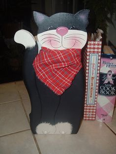 Black Cat Paper Towel Holder by woodenwhimsie on Etsy, $16.95