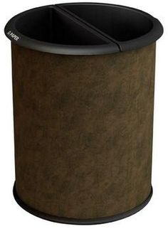 Dual Sided Office Recycling Trash Can Wastebasket Vinyl Wrapped