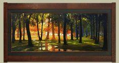 """The Clearing""   16""x 40""   Jan Schmuckal   Arts and Crafts Style Frame by Dard Hunter Studios   Impressionism   Tonalism   Landscape   Sunrise   Sunset   Stream"