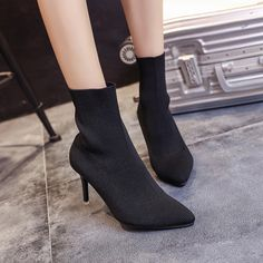 Tide Fashion Brand Autumn and Winter Women High-heeled Boots Female Solid Color Warm Short Boots High Heel Boots, Heeled Boots, Smart Casual Wear, Simple Summer Dresses, Casual Boots, Short Boots, Womens High Heels, Fashion Brand, Fashion Shoes