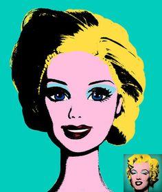 Marilyn Monroe & Barbie. Done by Andy Warhol