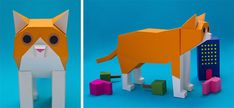 New Geometric Paper Cats and Other Creatures by Estudio Guardabosques | Colossal