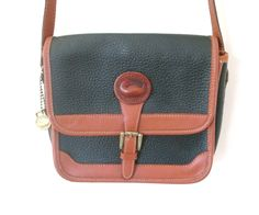 Vintage Dooney & Bourke Purse Messenger Bag Dark Green British Tan All Weather Leather - pinned by pin4etsy.com