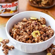 No oil or butter in my Banana Nutella Chocolate Granola. Tastes decadent and it is addicting!