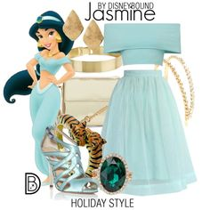 Jasmine by leslieakay on Polyvore featuring Chicwish, Oscar de la Renta, Kenneth Jay Lane, ALDO, Lele Sadoughi, Chico's, Miu Miu, Christmas, disney and disneybound