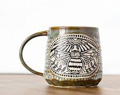 Handmade Bee Apiary Gardening Carved Ceramic Coffee Mug - Pottery Mug - Functional Pottery