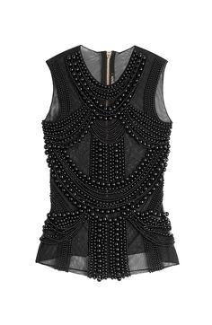 BALMAIN Embellished Sleeveless Top. #balmain #cloth #tops