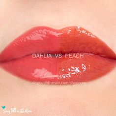 Compare Dahlia vs. Peach LipSense using this photo.  Dahlia is part of the Fiesta LipSense Collection by SeneGence.