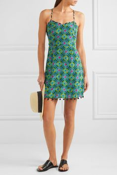 Matthew Williamson - Pompom-embellished Printed Silk Crepe De Chine Dress - Jade - UK6