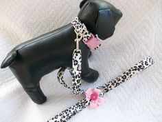 Pink and Black  Leopard  Dot  Print  Dog Collar and Leash Set. $20.00, via Etsy.