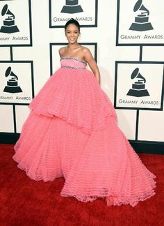 Grammy Awards Fashion Then & Now: Celebs Go From Naked to Covered Up | Now: Rihanna in Giambattista Valli