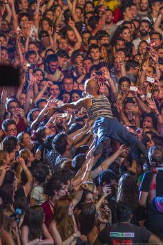Concert Photography: Tim Booth of James crowd surfing at Ejekt Festival 2012