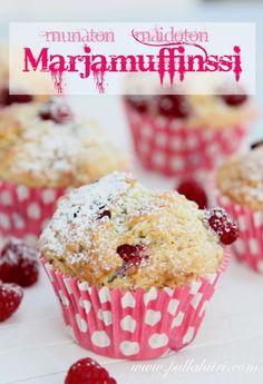 Munaton maidoton muffinssi Finnish Recipes, Dairy Free, Cupcakes, Cookies, Baking, Breakfast, Sweet, Hait, Food