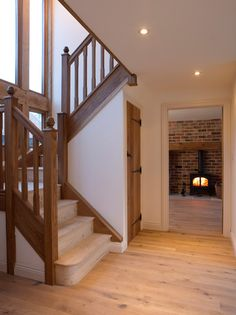 Barns & Contemporary - Border Oak - oak framed houses, oak framed garages and structures. STAIRS WINDOW - LOVE!