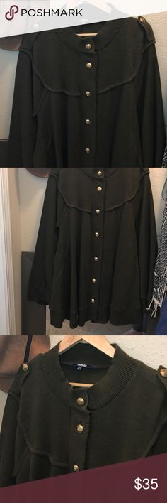 Asos plus army green cape with gold button So chic. Great army cape to keep you warm! Worn a few times but living in the south can use it much. ASOS Curve Jackets & Coats Capes